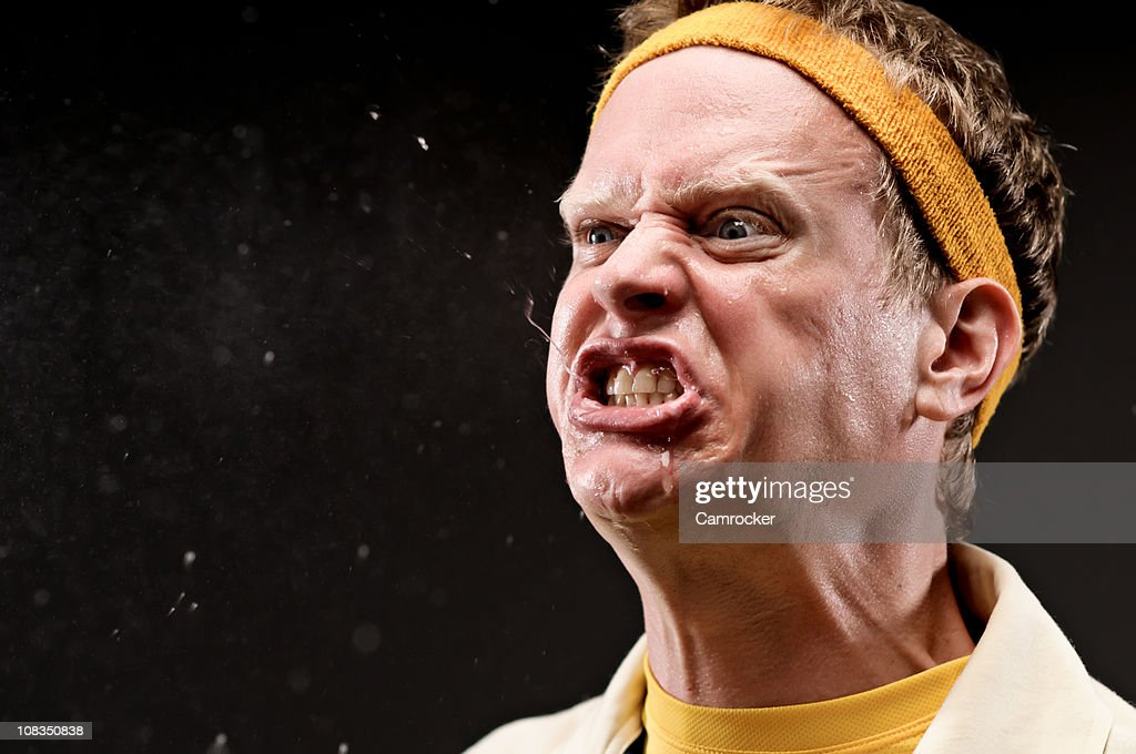Classic gym coach with outraged expression : Stock Photo