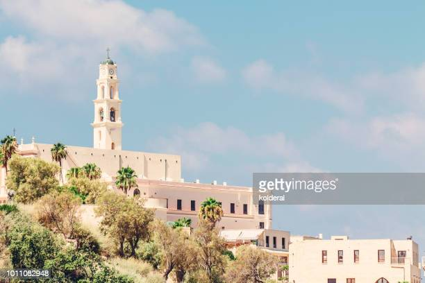 classic historic buildings in old city of jaffa - tel aviv foto e immagini stock