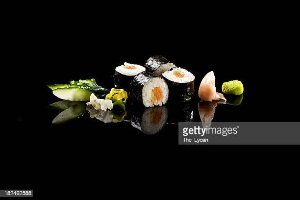 classic hosomaki salmon - maki sushi stock pictures, royalty-free photos & images