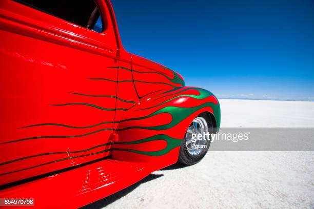 classic hot rod race car on the salt flats in utah usa - hot rod car stock photos and pictures