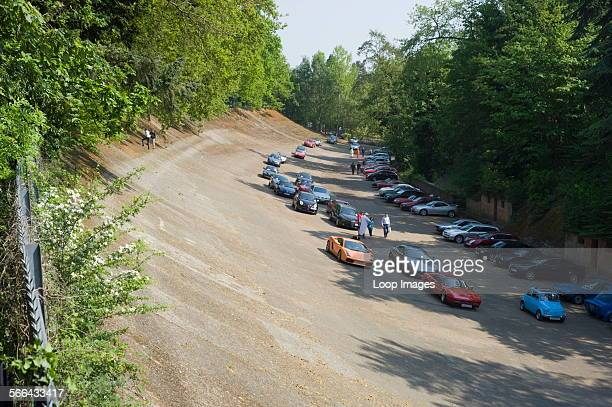 Classic Italian cars at a retro event at the historic race track at Brooklands