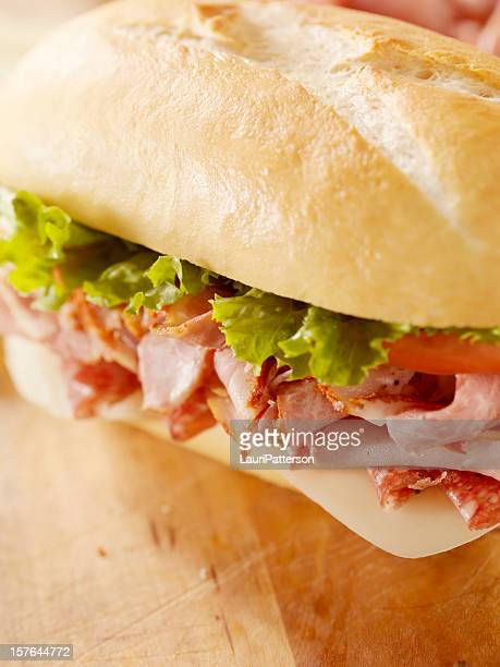 classic italian sandwich - baloney stock photos and pictures