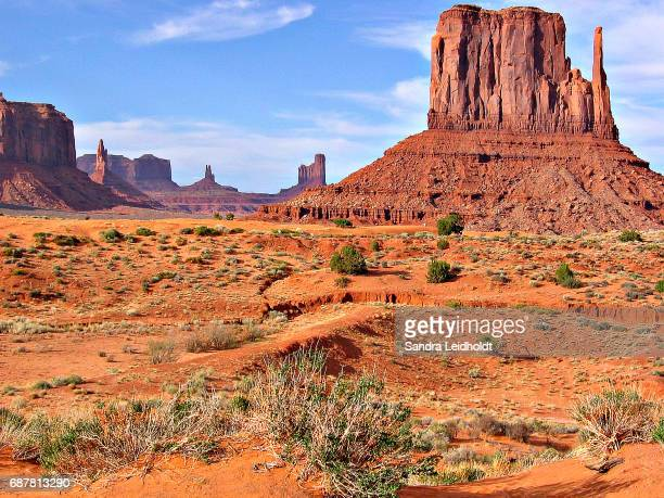 classic landscape of monument valley - arizona - monument valley tribal park stock photos and pictures
