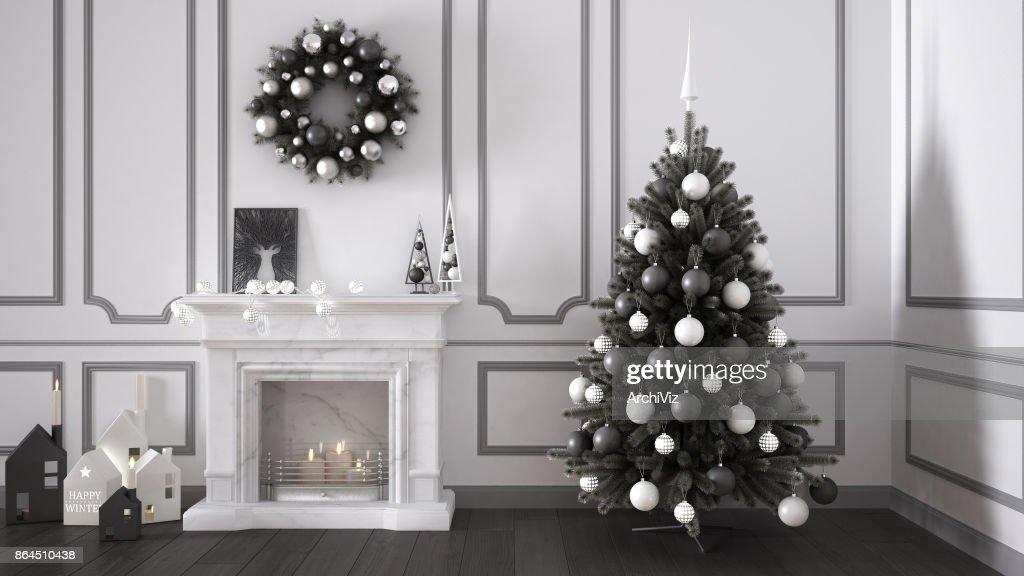 Klassische Wohnzimmer Mit Kamin Weihnachtsbaum Und Dekore Winter Neujahr Skandinavischen Weisse Und Graue Inneneinrichtung Stock Foto Getty Images