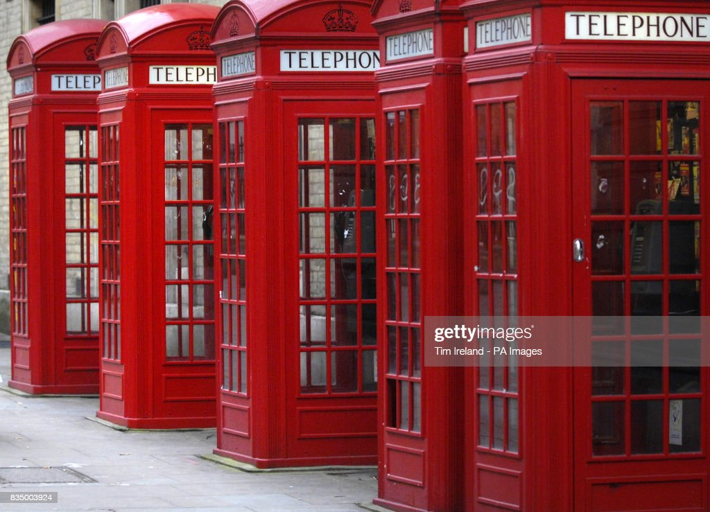 Classic London telephone boxes pictured in Covent Garden, London