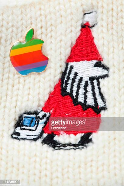 classic macintoch santa claus and apple pin - 1990 1999 stock pictures, royalty-free photos & images