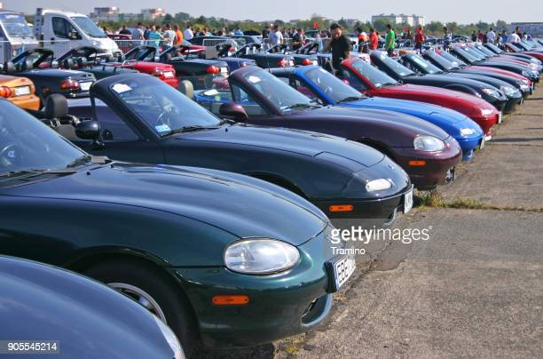 classic mazda mx-5 vehicles on the mazda meeting - mazda mx 5 stock photos and pictures