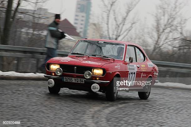 Classic Mazda RX-2 rally car during the rally