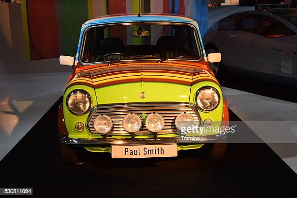 classic mini cooper on the motor show - mini cooper stock photos and pictures