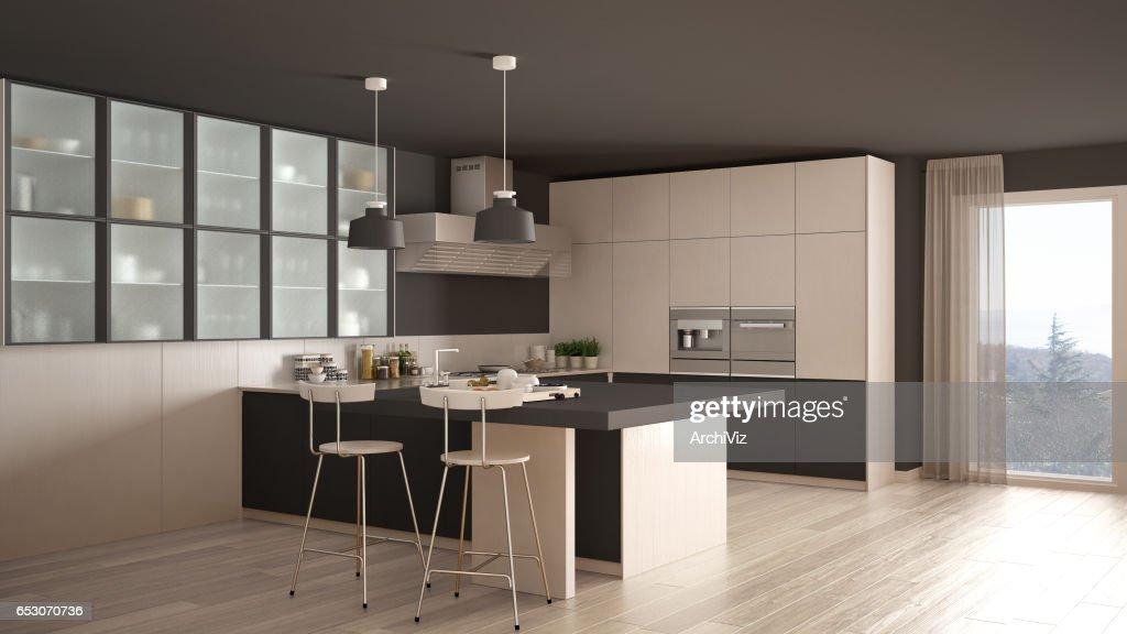 Klassische Minimale Weiße Und Graue Küche Mit Parkett, Moderne  Innenarchitektur : Stock Foto