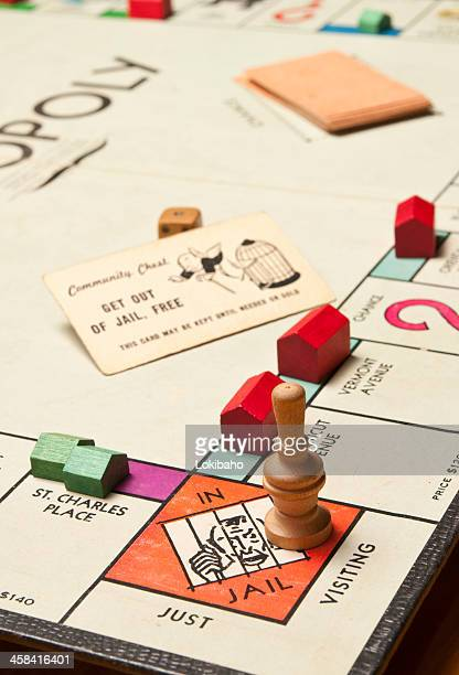 classic monopoly game, jail corner close up - game night stock photos and pictures