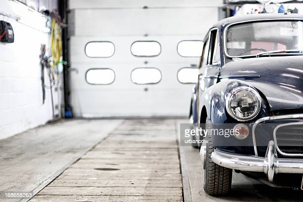 classic morris minor traveller - garage stock pictures, royalty-free photos & images