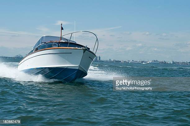 classic motor boat - southampton england stock pictures, royalty-free photos & images