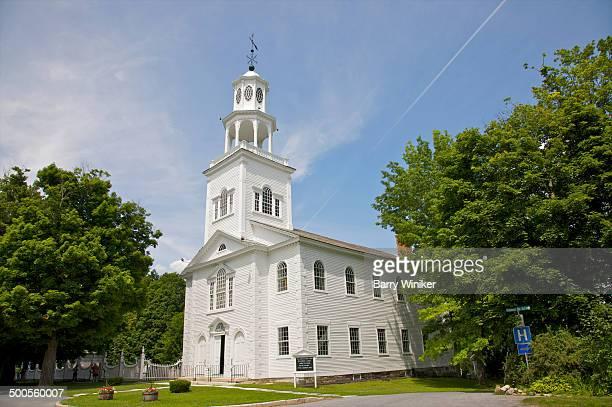 Classic New England white clapboard church