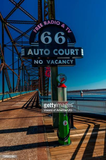 classic old chain of rocks bridge crosses the missouri river in st. louis - st. louis missouri stock pictures, royalty-free photos & images