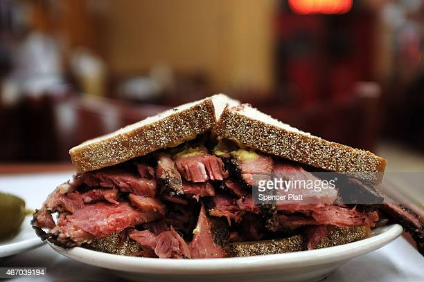 A classic pastrami sandwich is viewed at Katz's Delicatessen on March 20 2015 in New York City A pastrami sandwich at Katz's will now cost $2150 with...