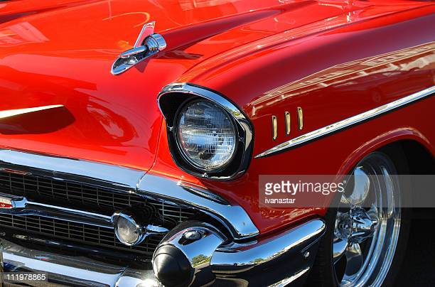 classic red car - hot rod car stock photos and pictures