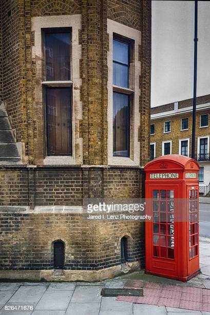 Classic Red Telephone Booth on the Corner (London)