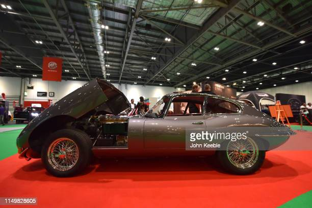 Classic reengineered E-Spec Plus Steel FHC/OTS Jaguar E-Type by Evolution E-Types is displayed during the London Motor and Tech Show at ExCel on May...