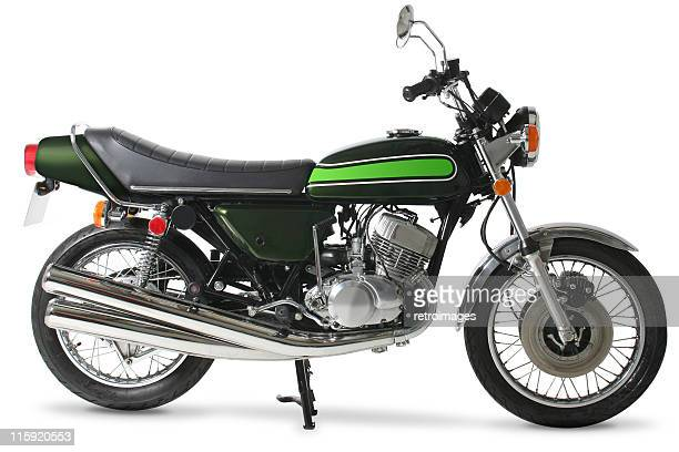 Classic retro 1970s Japanese motorcycle in studio