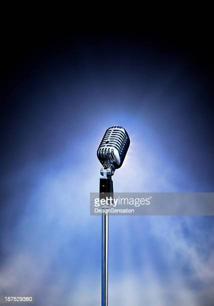 classic retro style modern microphone on stage (xxxl) - microphone stand stock photos and pictures