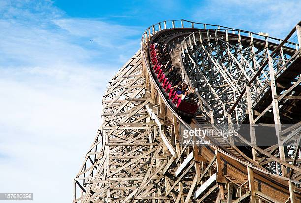 classic roller coaster with people at cedar point, sandusky, ohio - ohio stock photos and pictures