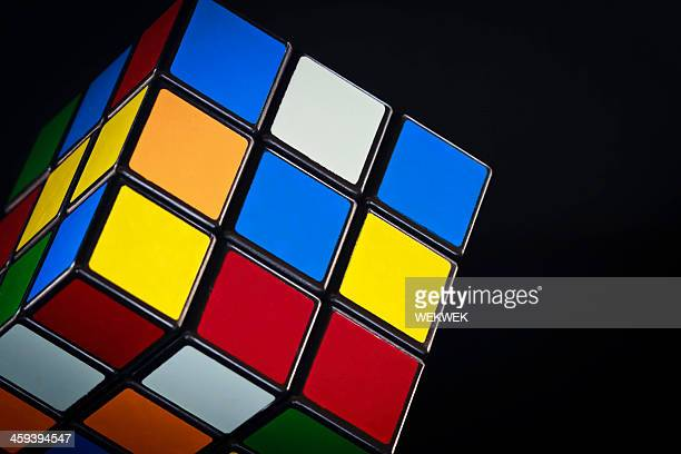 Classic Rubik's cube on black background