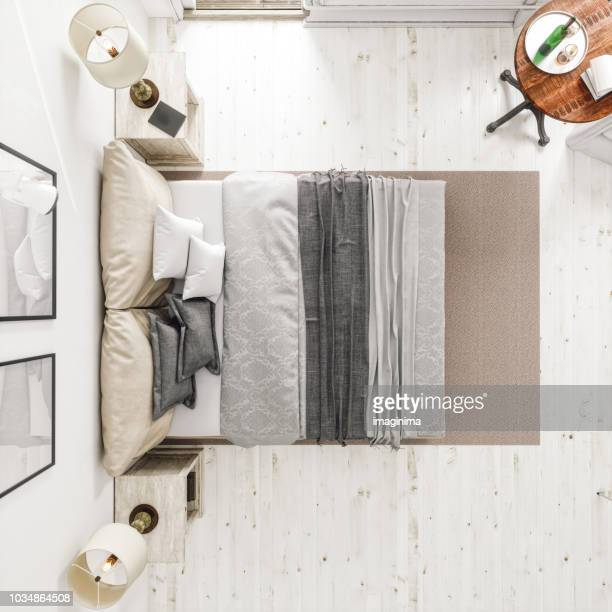 classic scandinavian bedroom from top view - veduta dall'alto foto e immagini stock