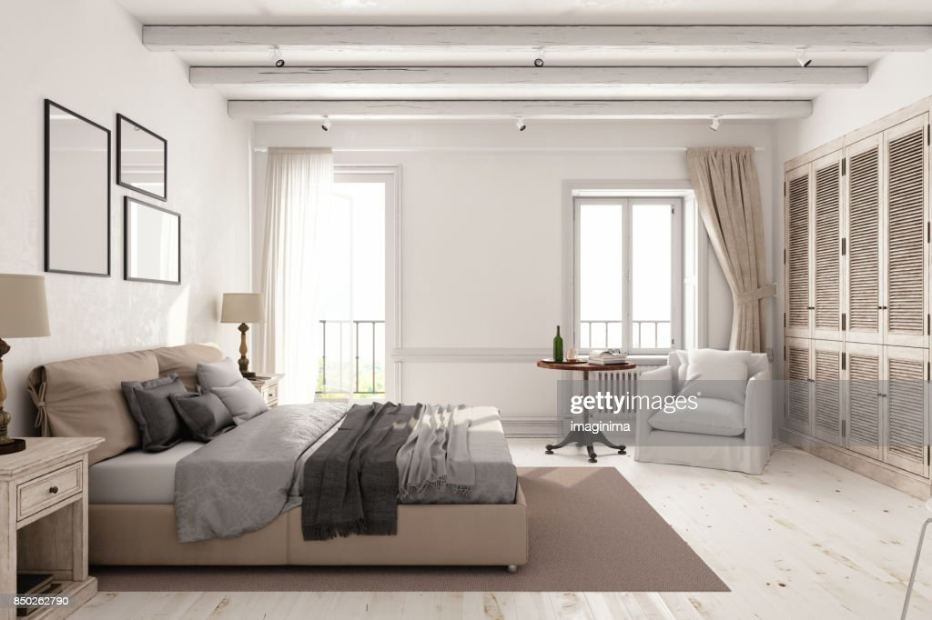 Classic Scandinavian Bedroom : Stock Photo