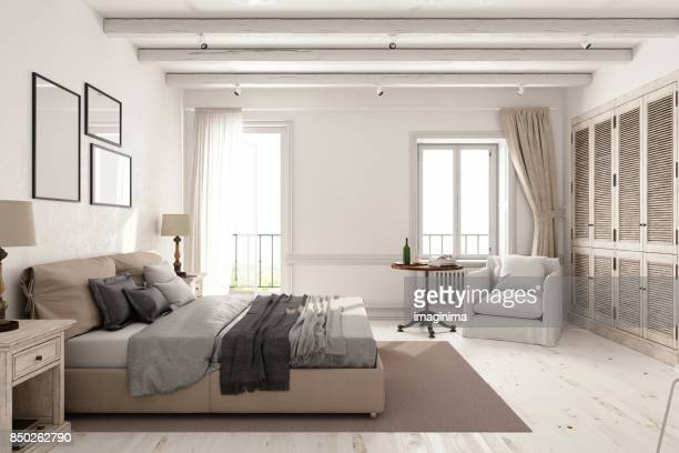 classic scandinavian bedroom - domestic room stock pictures, royalty-free photos & images