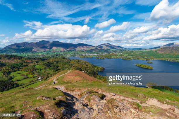 classic spring time view from catbells mountain, lake district. uk. - ケズイック ストックフォトと画像