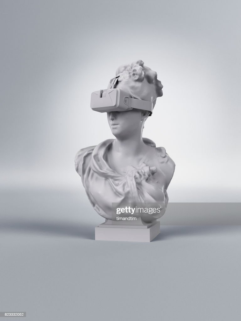 Classic statue of a woman wearing a VR headset : Stock-Foto