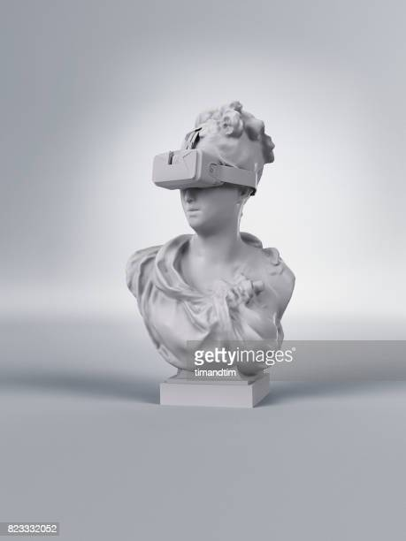 Classic statue of a woman wearing a VR headset
