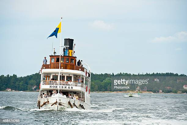 Classic steam ship approaching Stockholm