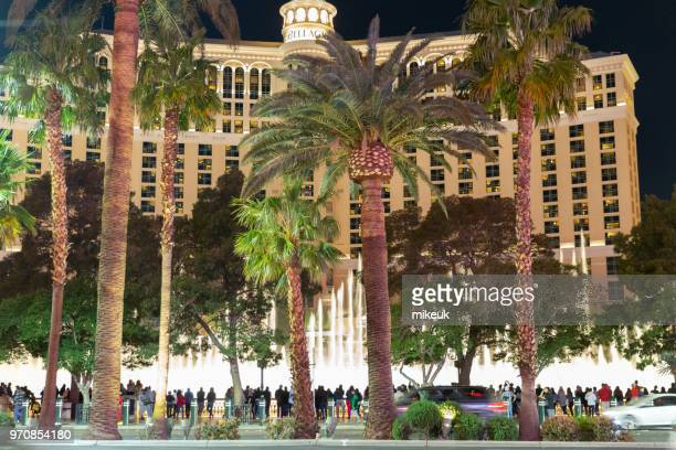 classic street scene from Las Vegas city, Nevada featuring the Belagio hotel and its world famous water fountains