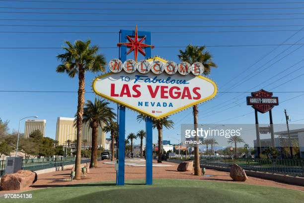 classic street scene from Las Vegas city, Nevada. Shows the world famous welcome to las vegas city road sign