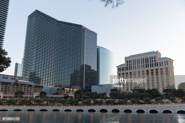 classic street scene from Las Vegas city, Nevada with the Cosmopolitan hotel building featured in the skyline