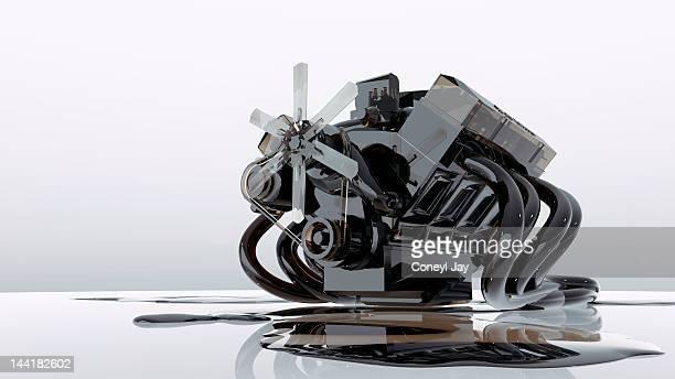 Classic V8 petrol engine wt crude oil texture