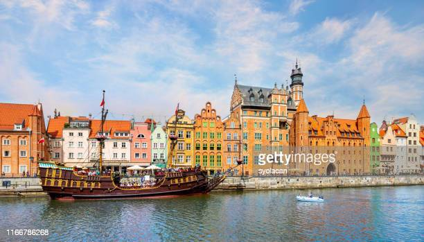 a classic view of the old city of gdansk - syolacan stock pictures, royalty-free photos & images