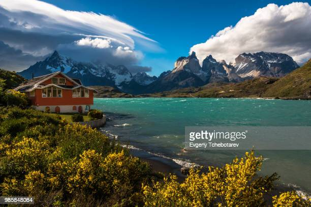 classic view - torres del paine national park stock photos and pictures