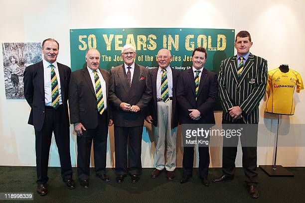 Classic Wallaby Statesmen Simon Poidevin Geoff Shaw Terry Curley Eric Tweedale Elton Flatley and Tim Gavin pose in front of the '50 Years In Gold The...