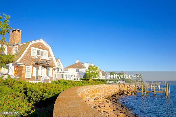 classic waterside homes, stonington, ct - ct stock pictures, royalty-free photos & images
