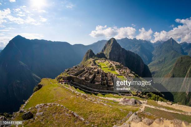 Classic Wide Angle View Of Machu Picchu And Huayna Picchu In Peru