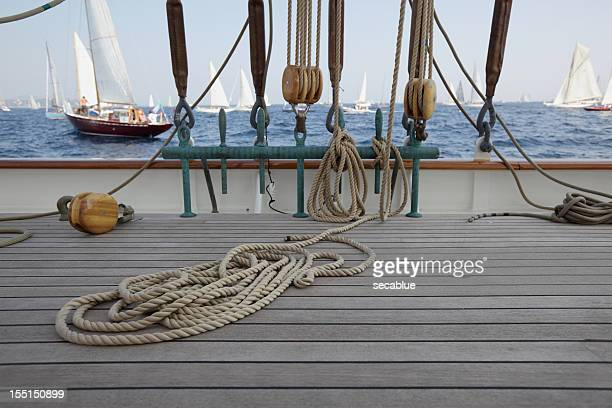 classic yacht deck and yachts - pirate ship stock photos and pictures