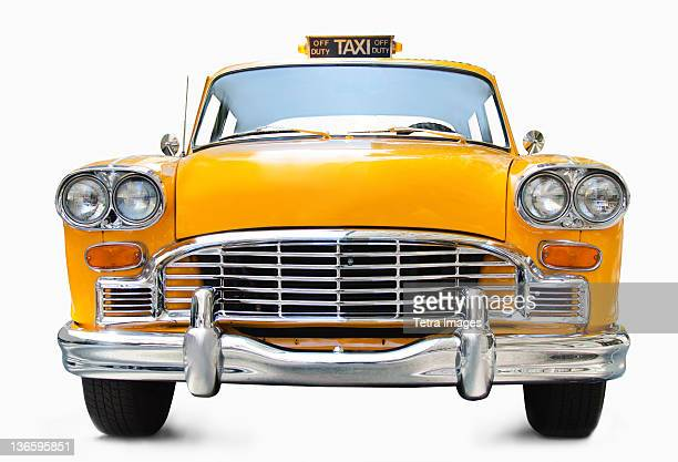 classic yellow cab on white background - taxi fotografías e imágenes de stock