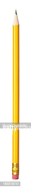 Classic yellow pencil with eraser tip.