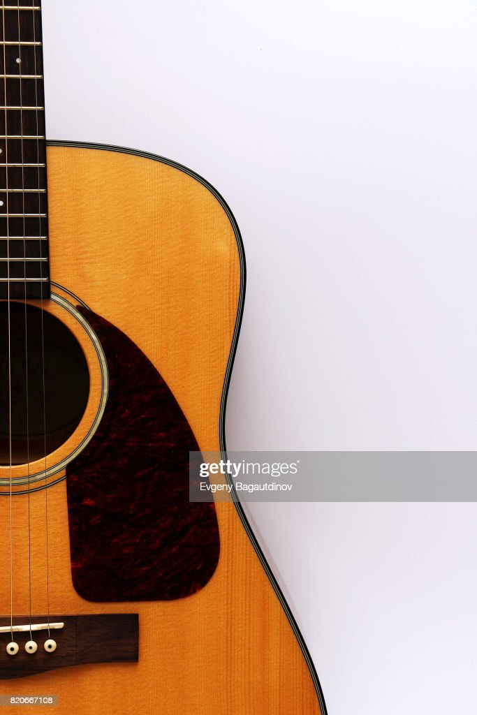 Classical Acoustic Guitar On A White Background Stock Photo Getty