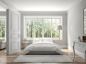 Classical bedroom and living room 3d render