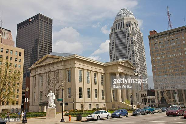 classical building with modern towers behind. - louisville kentucky stock pictures, royalty-free photos & images