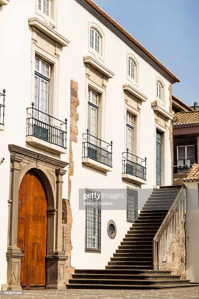 Classical building with outside staircase : Foto de stock